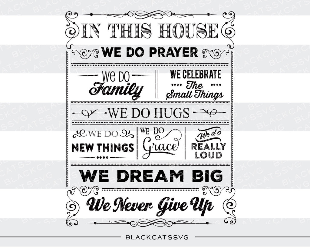 In this house quotes -  SVG file Cutting File Clipart in Svg, Eps, Dxf, Png for Cricut & Silhouette - BlackCatsSVG
