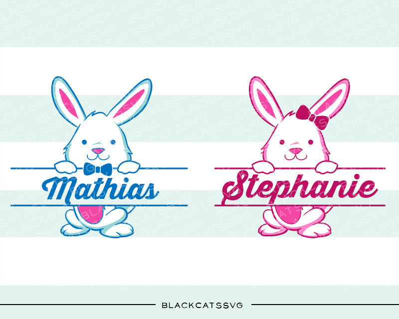 Easter split Bunnies SVG boy and girl file Cutting File Clipart in Svg, Eps, Dxf, Png for Cricut & Silhouette - BlackCatsSVG
