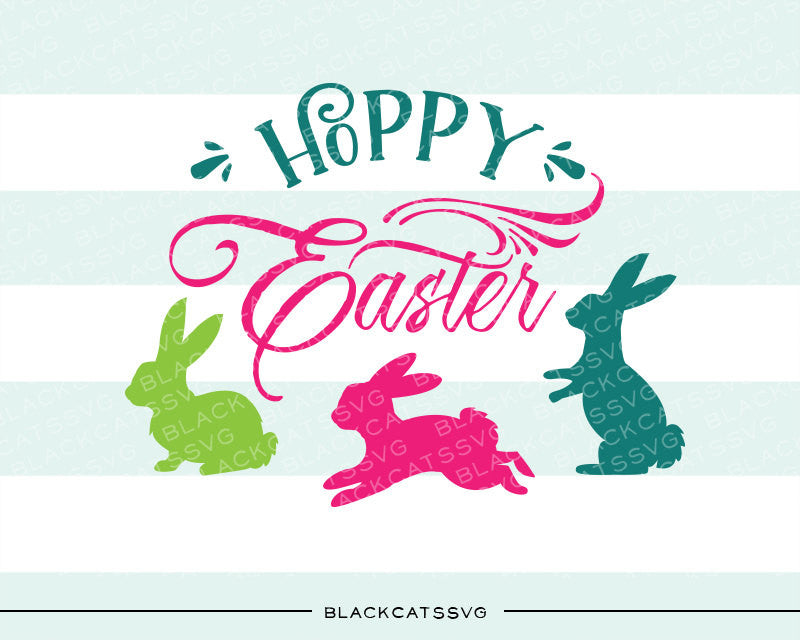 Happy Easter  SVG Hoppy easter bunnies svg file Cutting File Clipart in Svg, Eps, Dxf, Png for Cricut & Silhouette - BlackCatsSVG