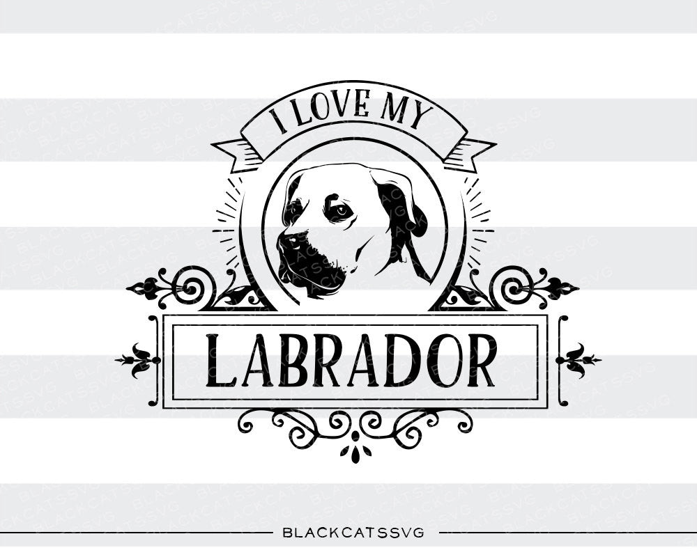 I love my labrador -  SVG file Cutting File Clipart in Svg, Eps, Dxf, Png for Cricut & Silhouette - BlackCatsSVG