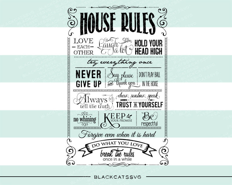 House rules -  SVG file Cutting File Clipart in Svg, Eps, Dxf, Png for Cricut & Silhouette - BlackCatsSVG