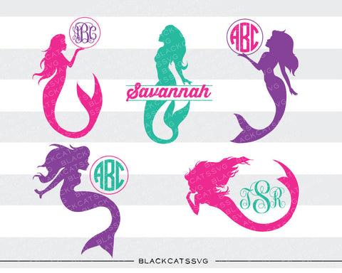 Mermaids monogram SVG file Cutting File Clipart in Svg, Eps, Dxf, Png for Cricut & Silhouette svg mermaid silhouette split monogram - BlackCatsSVG
