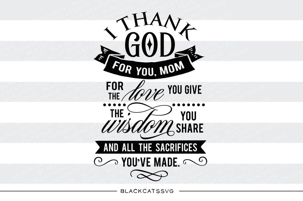 Thank you Mom SVG file Cutting File Clipart in Svg, Eps, Dxf, Png for Cricut & Silhouette - BlackCatsSVG