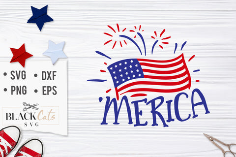 Merica flag SVG file Cutting File Clipart in Svg, Eps, Dxf, Png for Cricut & Silhouette