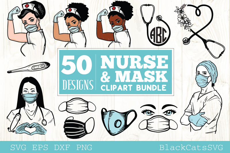 Nurse and mask SVG bundle cliparts 50 designs
