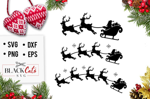 Santa and reindeers SVG cutting file