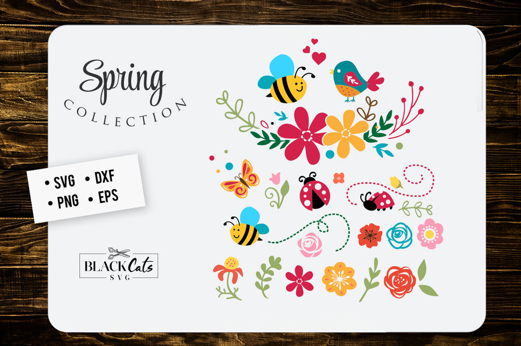 Spring illustrations SVG file Cutting File Clipart in Svg, Eps, Dxf, Png for Cricut & Silhouette