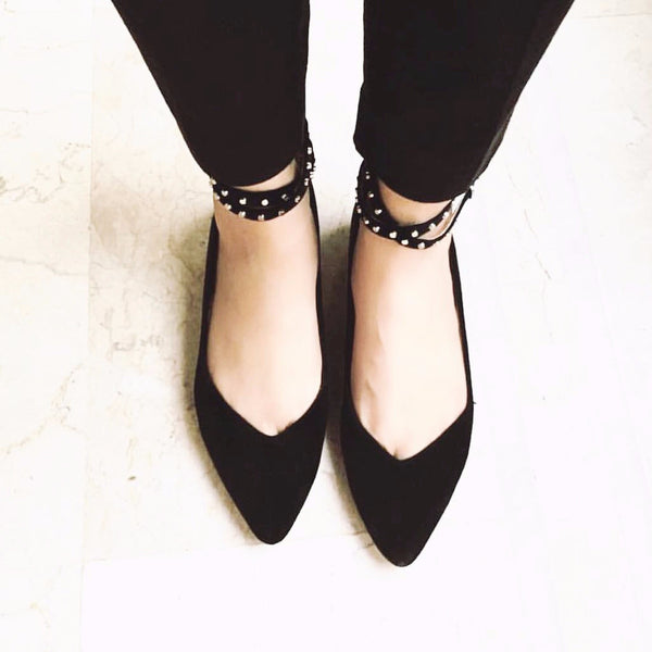 Rock-star Studded Ankle Strap Flats