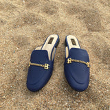Backless Mule Slides With Chain Detail - SOMA Footwear