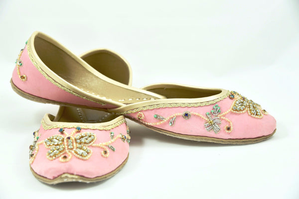 Embellished Ballet Flats, butterfly print shoes, beaded flats, Khussa, Jutti, Mojari, beaded flats, bridal flats, colorful flats, Soma shoes