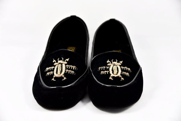 Black Velvet Loafers - SOMA Footwear