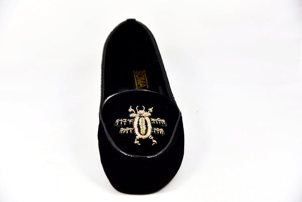 Handmade loafers, Black velvet loafers, bee shoes, bees shoes, bumble bee shoes, black velvet flats, velvet slip on shoes, embroidered loafers, soma shoes