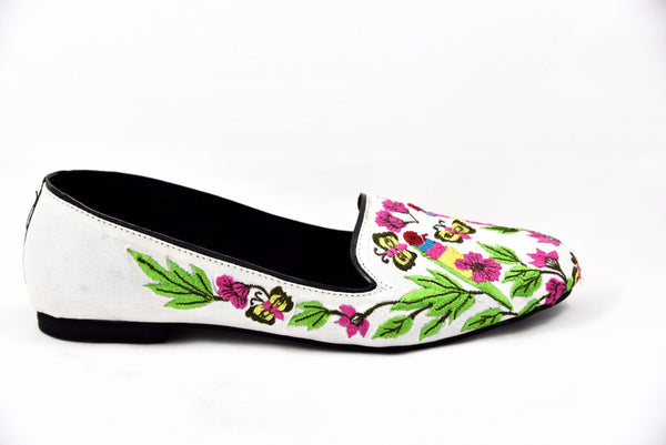 Embroidered loafers, embroidered shoes, bird shoes, flowered shoes, floral shoes for women, flowery shoes, flower print shoes, Soma shoes
