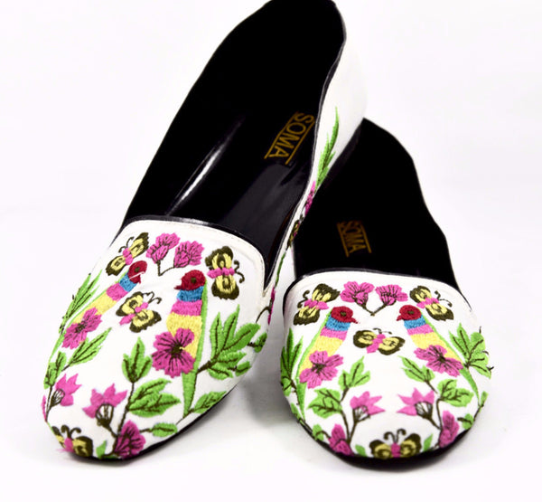 Hand Embroidered Floral Loafers - SOMA Footwear