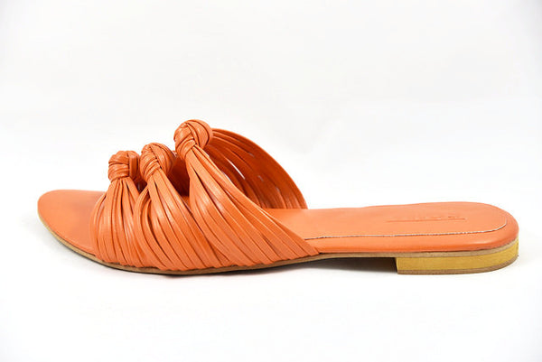 knot sandals, leather sandals, orange sandals