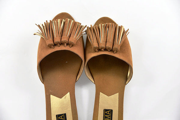 Women's slide fringe sandals