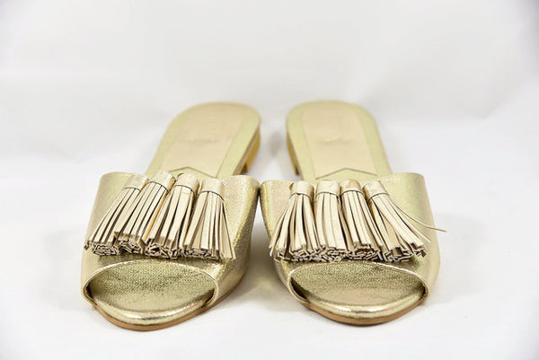 Metallic Sandals With Tassel Detail - SOMA Footwear