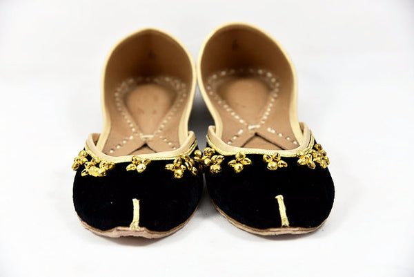 Velvet Flats With Bell Embellishments - SOMA Footwear