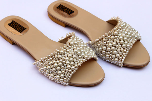 e27d2a2aa Pearl sandals, pearl wedding sandals, pearl flat sandals - Soma Shoes – SOMA