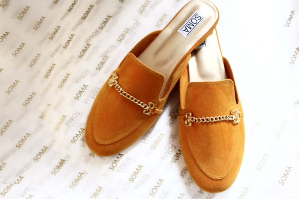 Chain Embellished Backless Loafers - SOMA Footwear