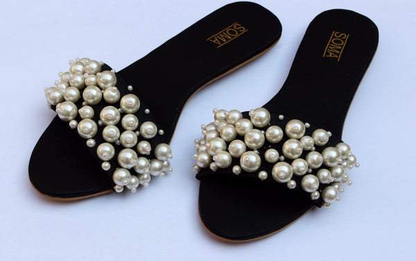 Round-Toe Pearl Embellished Sandals - SOMA Footwear