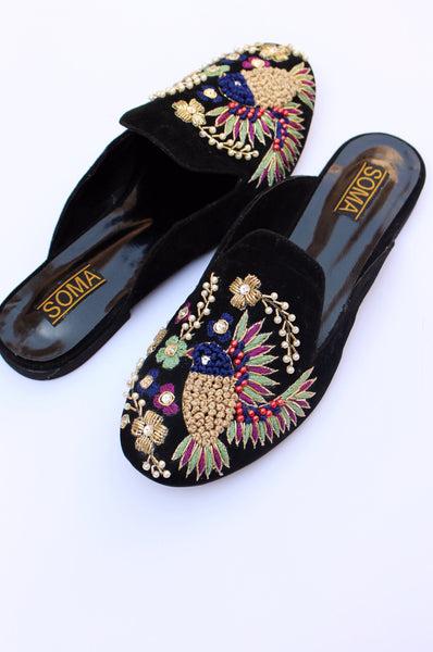 Backless Bird Embroidered Loafers - SOMA Footwear