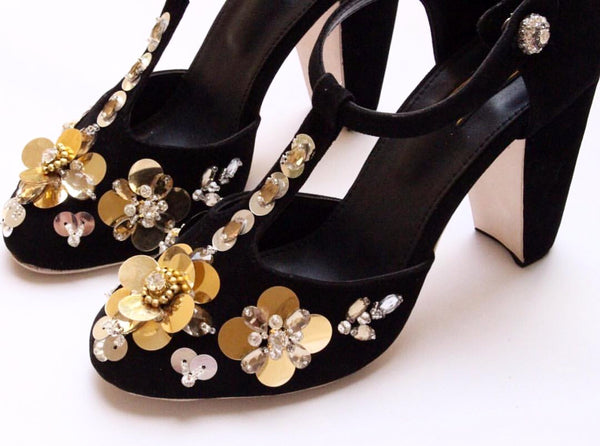 Flower Embellished Block Heels - SOMA Footwear