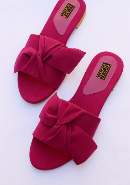 Suede Bow Sandals - SOMA Footwear