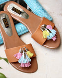 Colorful Fringe Detailed Sandals - SOMA Footwear