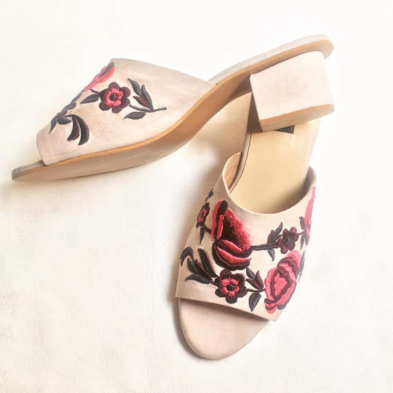 Floral Embroidered Blush Mules - SOMA Footwear