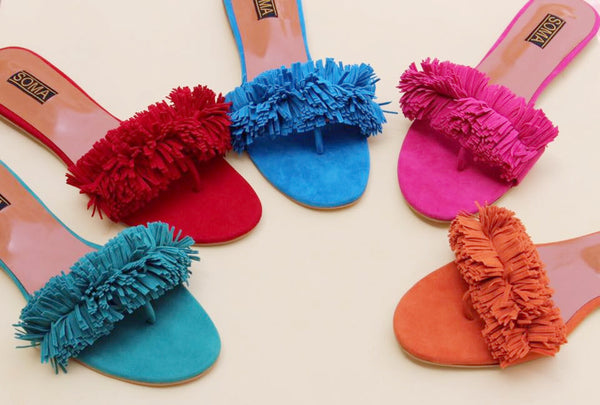 Colorful Frayed Sandals - SOMA Footwear