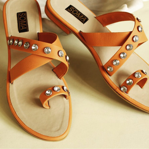 toe ring crystal orange leather sandals - soma