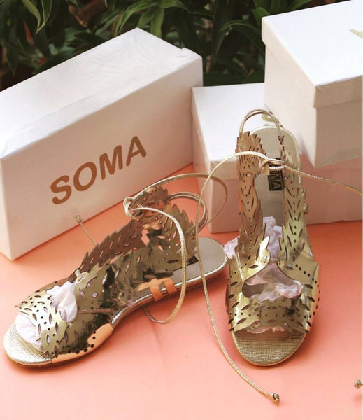 gold sandals, gold wrap up sandals, wing sandals, glam sandals, gold detailed sandals, detailed sandals, soma