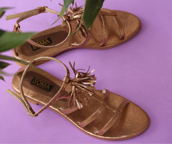 Gold Fringe Strappy Sandals - SOMA Footwear
