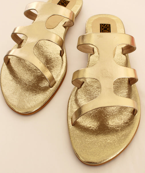 Metallic Open Toe Sandals - SOMA Footwear
