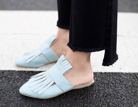 Elegant Fringed Leather Slides - SOMA Footwear