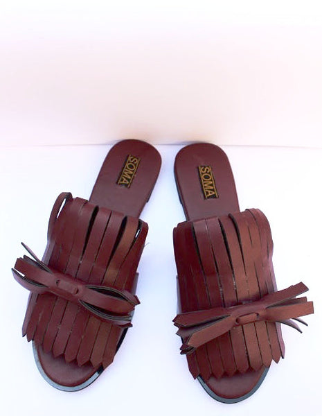 Women's fringe sandals, flat sandals with fringe, flat fringe sandals, bow flat sandals, handmade leather sandals, flat sandals with bows