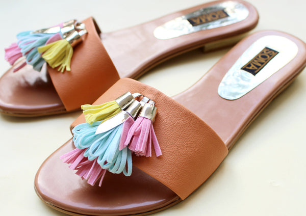 colorful pastel leather fringe detailed sandals - soma