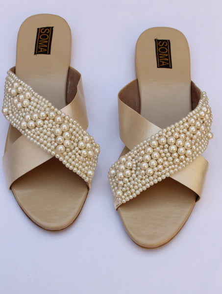open toe pearl embellished sandals - soma