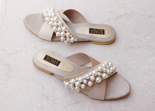 Strappy Pearl Encrusted Cross Sandals - SOMA Footwear