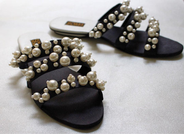 pearl embellished cross band sandals - soma