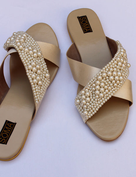 crossover leather pearl encrusted sandals - soma