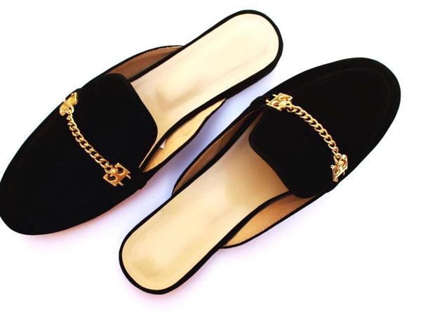 handmade loafers, chain shoes, backless loafers