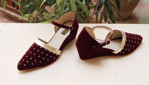 red wedges, holiday wedges, holiday shoes, velvet wedges, velvet sandals, velvet shoes, red sandals, stud wedges, soma shoes, soma