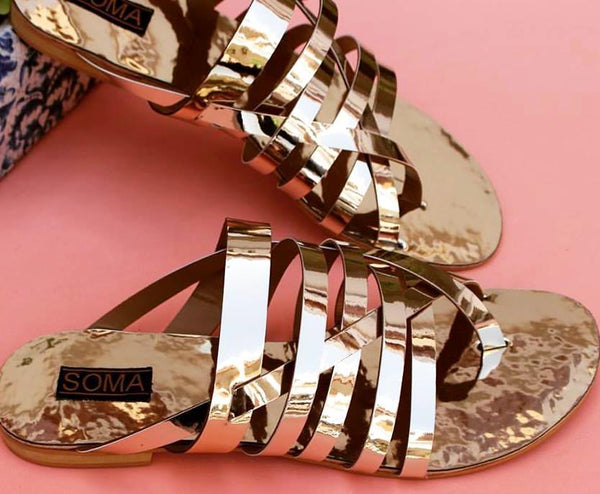 gold sandals, backless sandals, sandals, soma shoes, soma sandals, metallic sandals, gold shoes, metallic shoes,