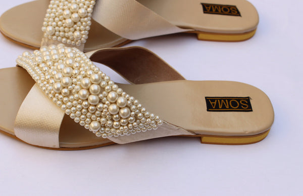 backless leather pearl embellished slides - soma