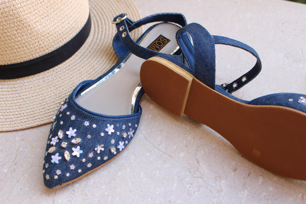 Snowflake Denim Sandals - SOMA Footwear