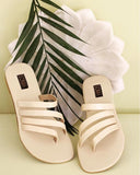 Strappy Cream Sandals - SOMA Footwear