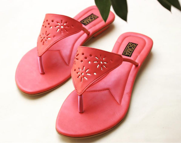 Detailed Watermelon Flat Sandals - SOMA Footwear