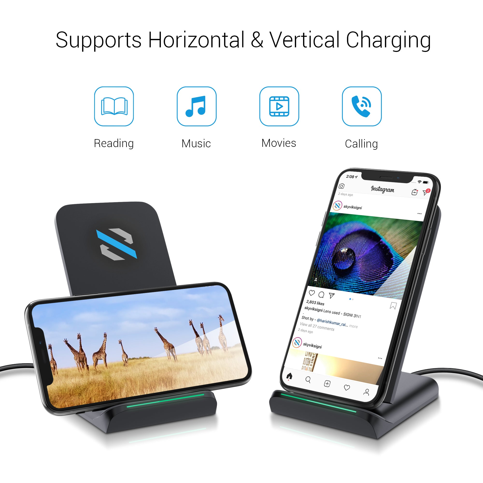 SKYVIK Beam 2 15W Qi Fast Wireless Charger-Type C with Dual Coils for iPhone Samsung & Other Compatible Devices